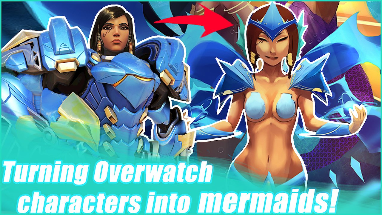 Video poster Turning Overwatch characters into mermaids for mermay!