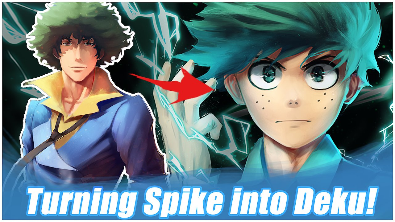 Video poster Turning my Painting of Spike into Deku from My Hero Academia!
