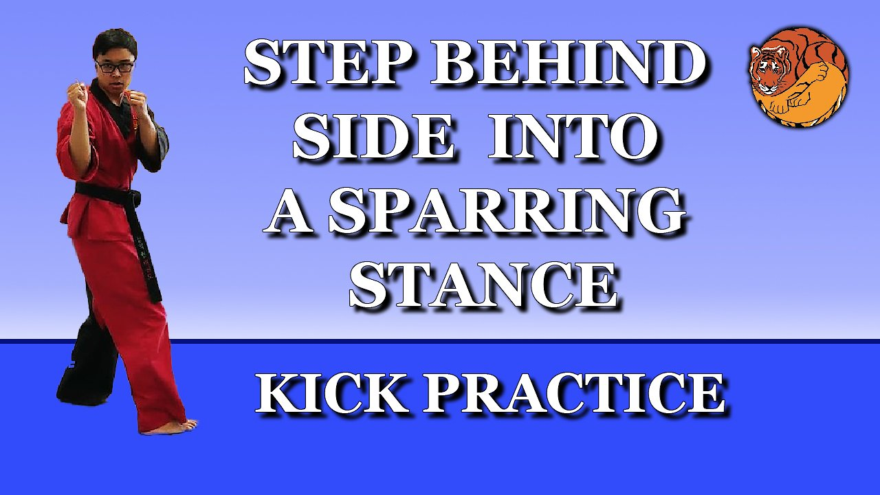 Video poster Kick Practice: step behind side into a sparring stance
