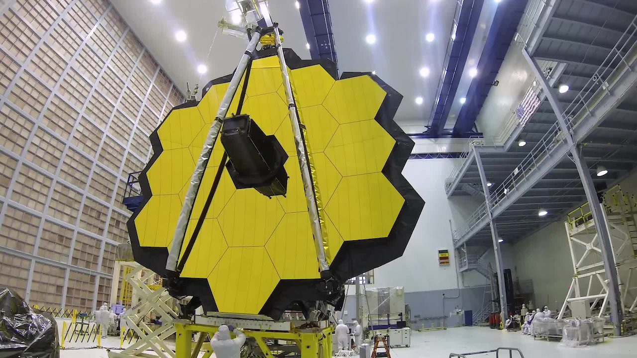 Video poster Time-lapse: Webb Telescope Element Folded and Prepped for Shipping to NASA Johnson