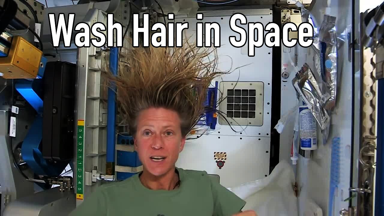 Video poster Karen Nyberg Shows How You Wash Hair in Space