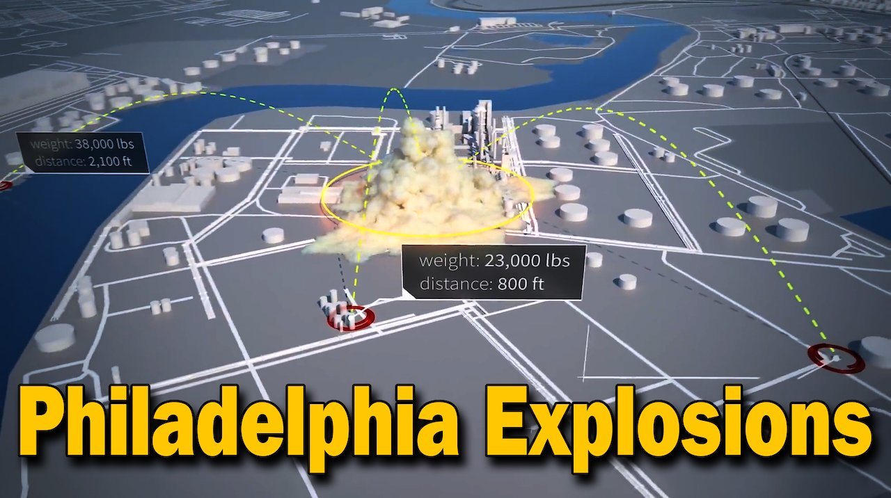 Video poster Preliminary Animation of Philadelphia Energy Solutions Refinery Fire and Explosions